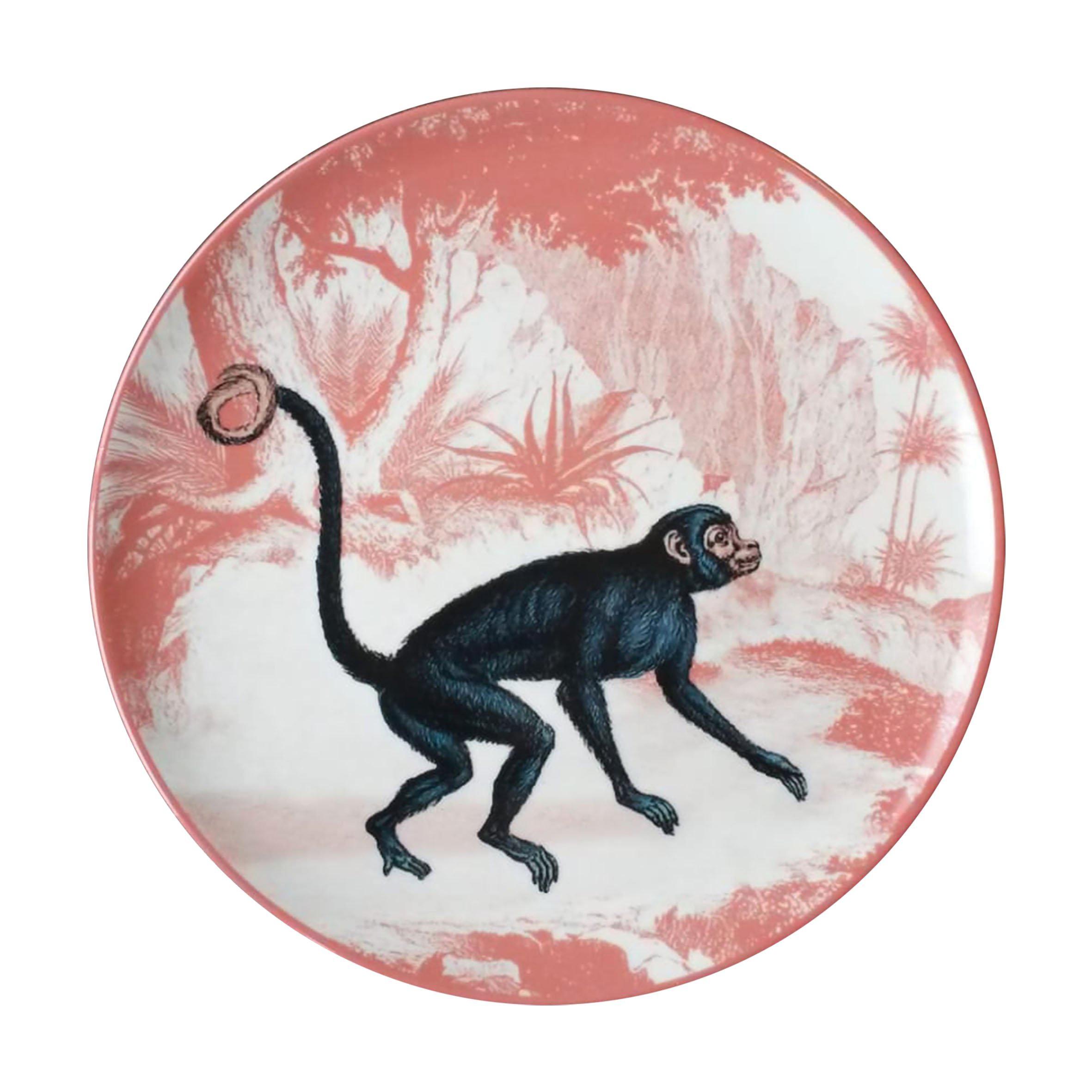 La Menagerie Ottomane Monkey Porcelaine Dinner Plate Handmade in Italy