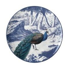 La Menagerie Ottomane Peacock Porcelain Dinner Plate Handmade in Italy