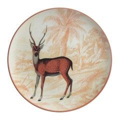La Menagerie Ottomane Antelope Porcelaine Dinner Plate Handmade in Italy
