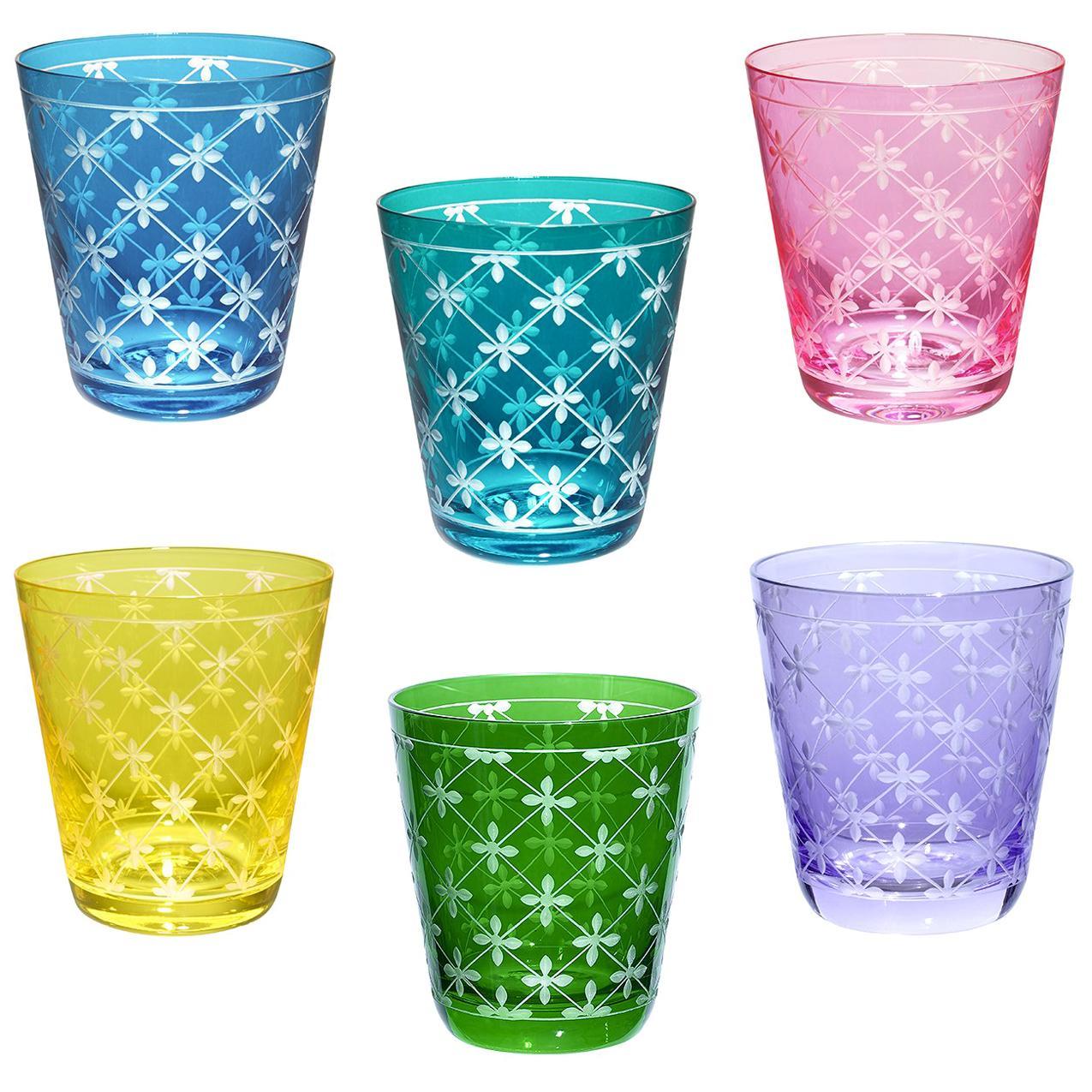 Modern Set of Six Glass Tumbler Handblown Sofina Boutique Kitzbuehel