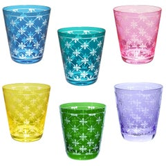 Modern Set of Six Glass Tumbler Handblown Sofina Boutique Kitzbuehel