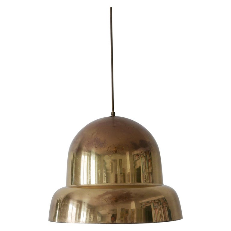 Extra Large Mid-Century Modern Brass Pendant Lamp by Bergboms, 1950s, Sweden For Sale