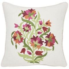Schumacher Antalya Medallion Embroidery Garnet Two-Sided Linen Pillow