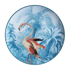 La Menagerie Ottomane Flamingo Porcelain Dinner Plate Handmade in Italy