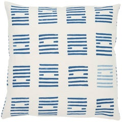 Schumacher Caroline Hurley Tiasquam Blue Two-Sided Linen Pillow