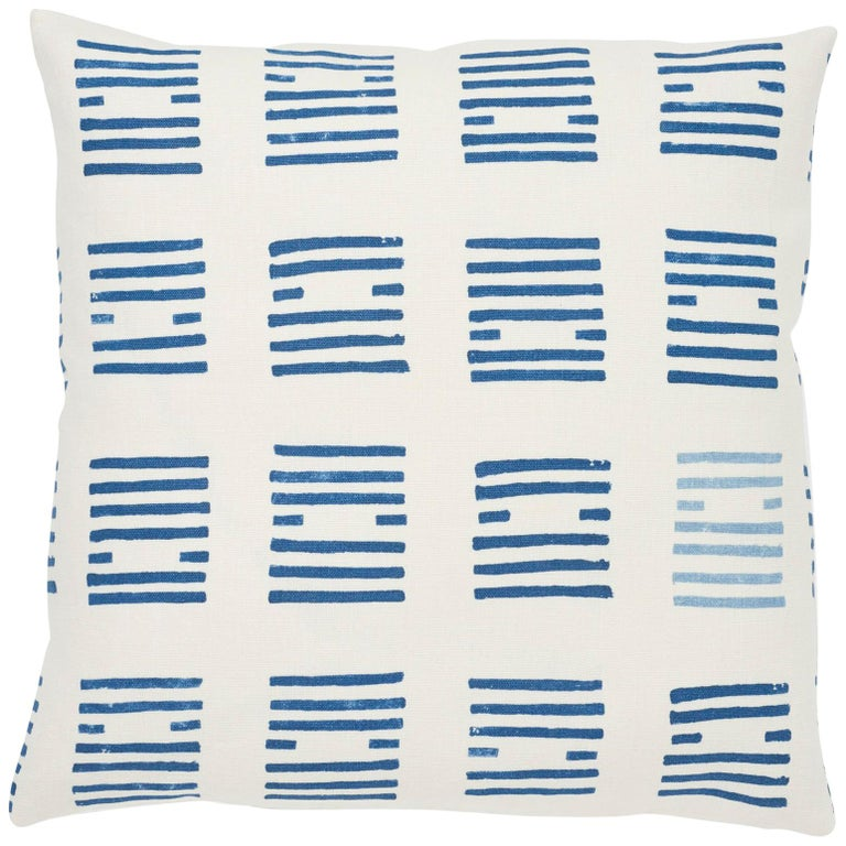 Schumacher Caroline Hurley Tiasquam Blue Two-Sided Linen Pillow For Sale