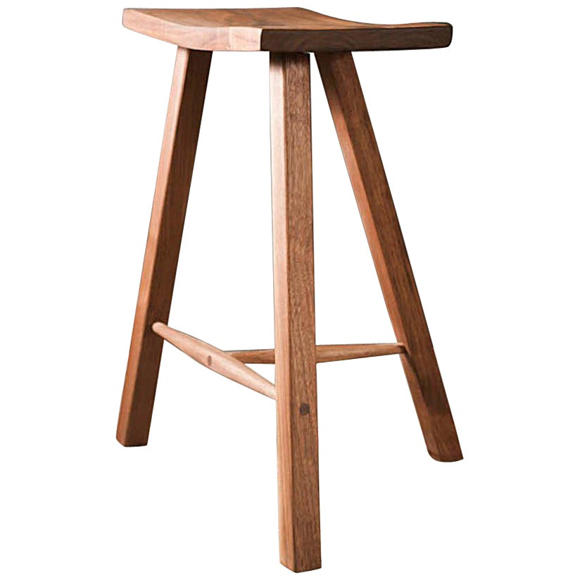 Three Legged Wooden Stool in Walnut by Hopes Woodshop