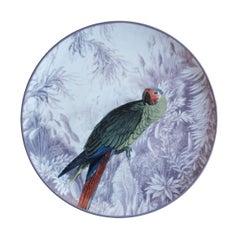La Menagerie Ottomane Parrot Porcelaine Dinner Plate Handmade in Italy