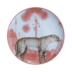 La Menagerie Ottomane Leopard Porcelaine Dinner Plate Handmade in Italy