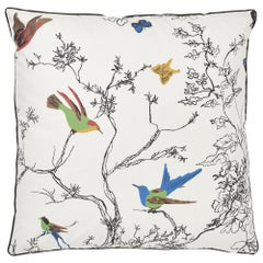 Schumacher Birds and Butterflies Multi on White Two-Sided Cotton Pillow