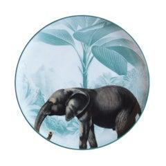 La Menagerie Ottomane Elephant Porcelain Dinner Plate Handmade in Italy