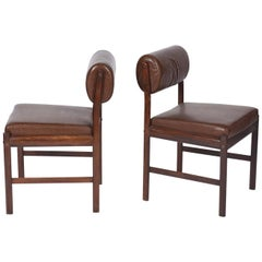 Midcentury Brazilian Chair with Wood Structure and Faux Leather, 1960s