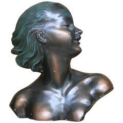 Art Deco Bust of a Young Lady Made of Plaster, France, circa 1930s