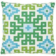 Schumacher Palmetto Print Lagoon Two-Sided Cotton Pillow