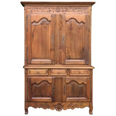 19th Century Country French Fruitwood Buffet a Deux Corps