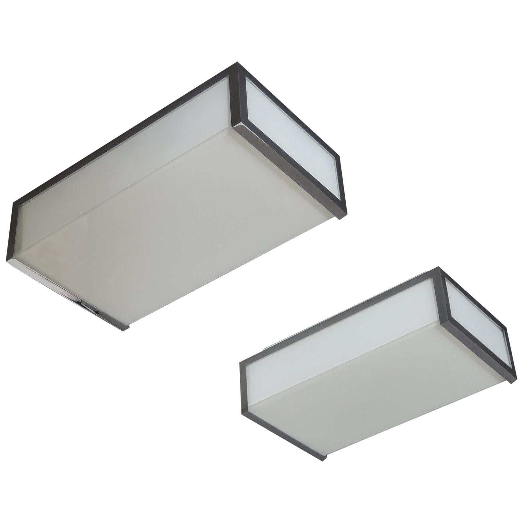 Pair of Small Fine French Art Deco Rectangular Flush Mounts by Perzel