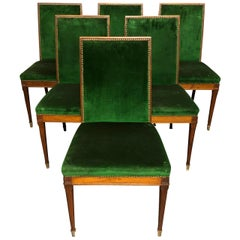 Set of Six French Modern Jean Michel Frank Style Mahogany Dining Chairs