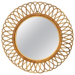 Mid-Century Modern Franco Albini Rattan and Bamboo Round Mirror, Italy, 1960s