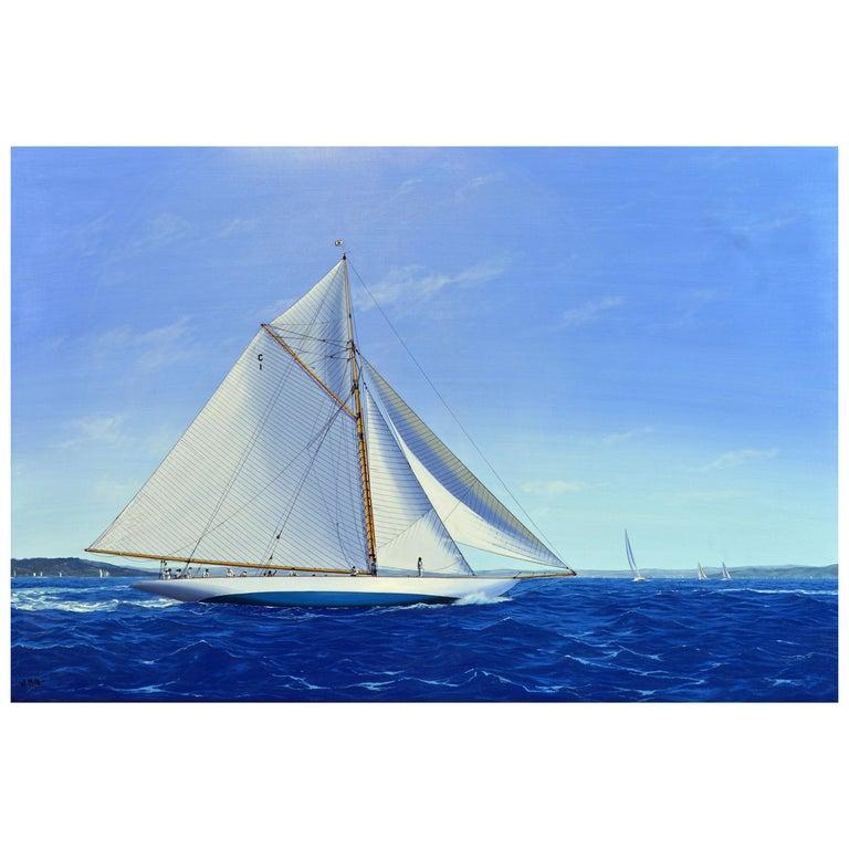 'Navigating the Med' Large Detailed Seascape by James Miller, British For Sale