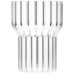 Set of Two Clear Contemporary Fluted Boyd Medium Glasses by Felicia Ferrone