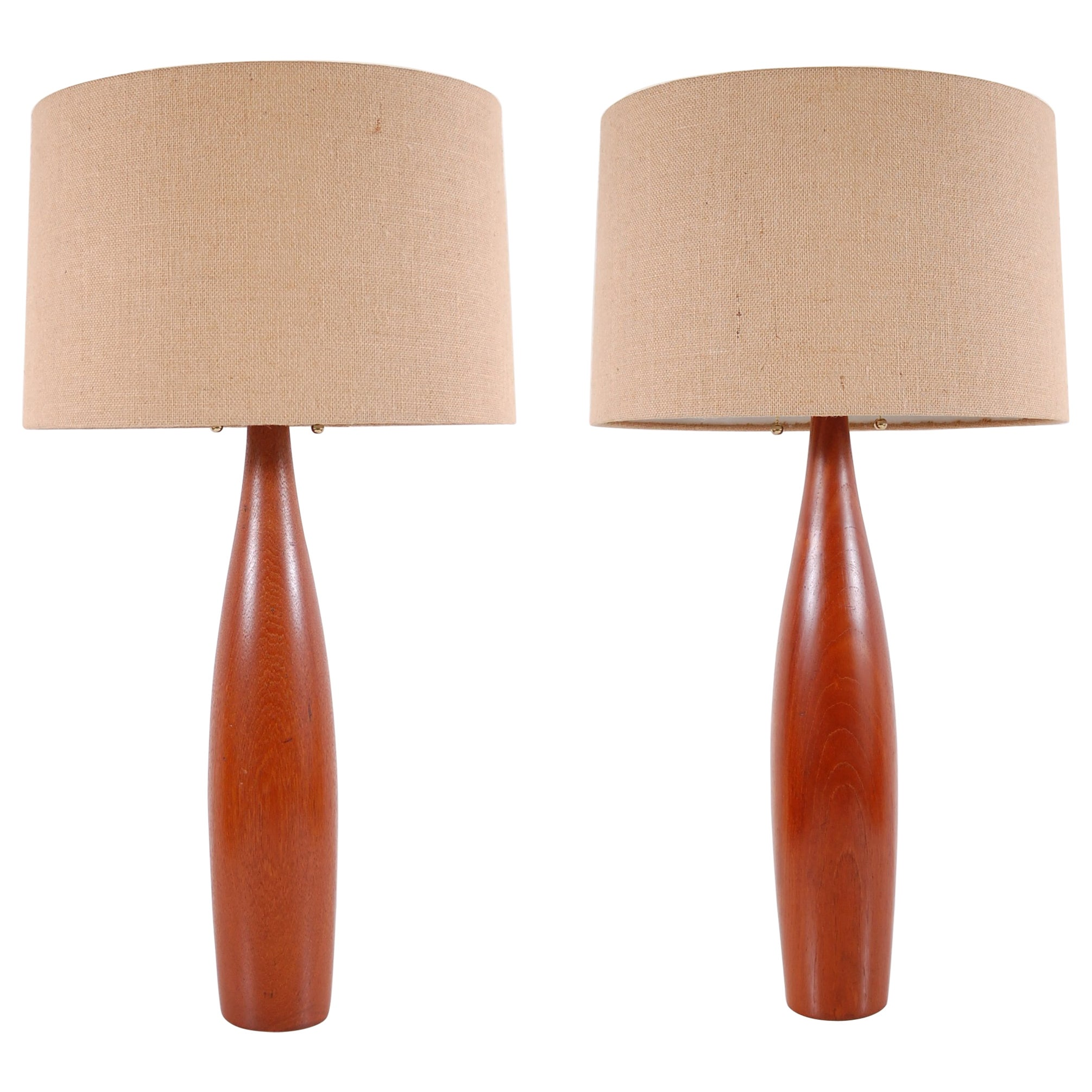 Pair of Turned Teak Lamps from Denmark