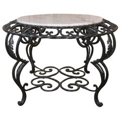 Mid-Century French Wrought Iron Marble-Top Coffee Table