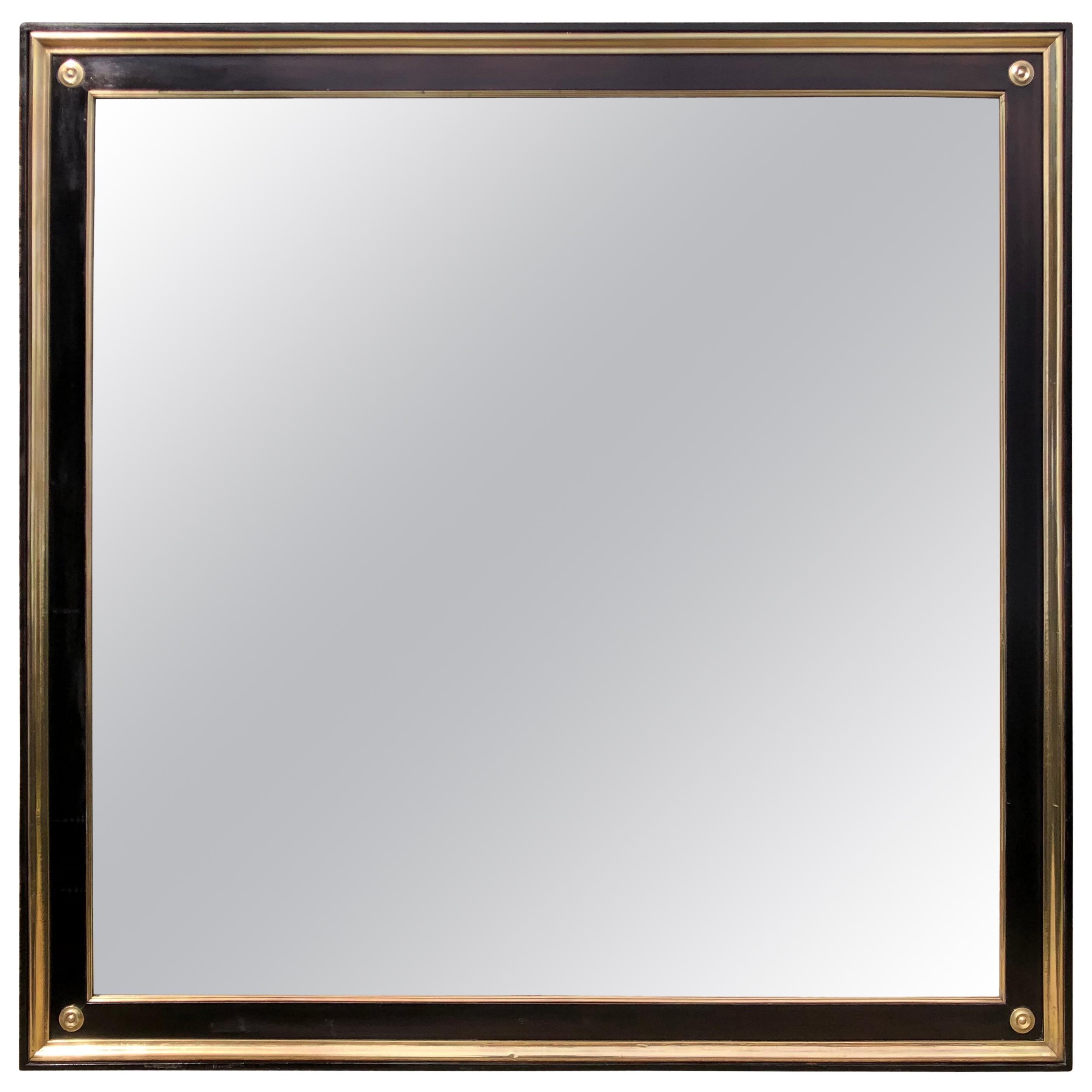 Large Maison Jansen Wood and Bronze Mirror
