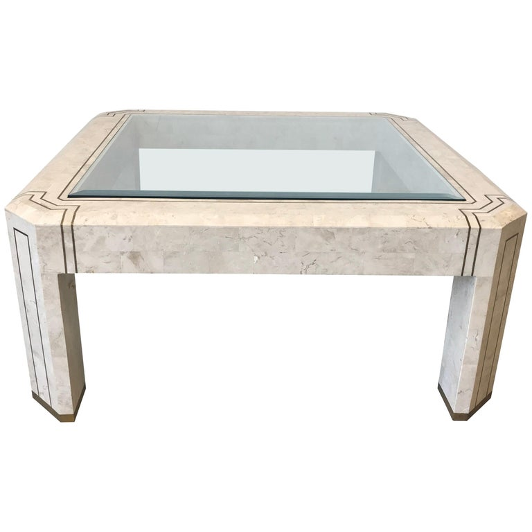 1980s Maitland Smith Tesated Stone And Br Inlay Coffee Table With Gl