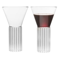 Set of Two Clear Contemporary Sofia Large Glasses by Felicia Ferrone