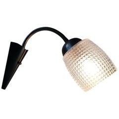 Scandinavian Modern Brass and Glass Wall Lamp, 1950s