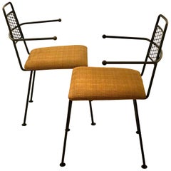 Pair of 1950s American Mid Century Modern Atomic Age Wrought Iron Patio Chairs