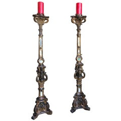 Venetian Carved Giltwood light Torchiere Candleholder Floor Lamp Collectible LA