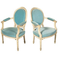 Pair of French Louis XVI Style Painted Armchairs