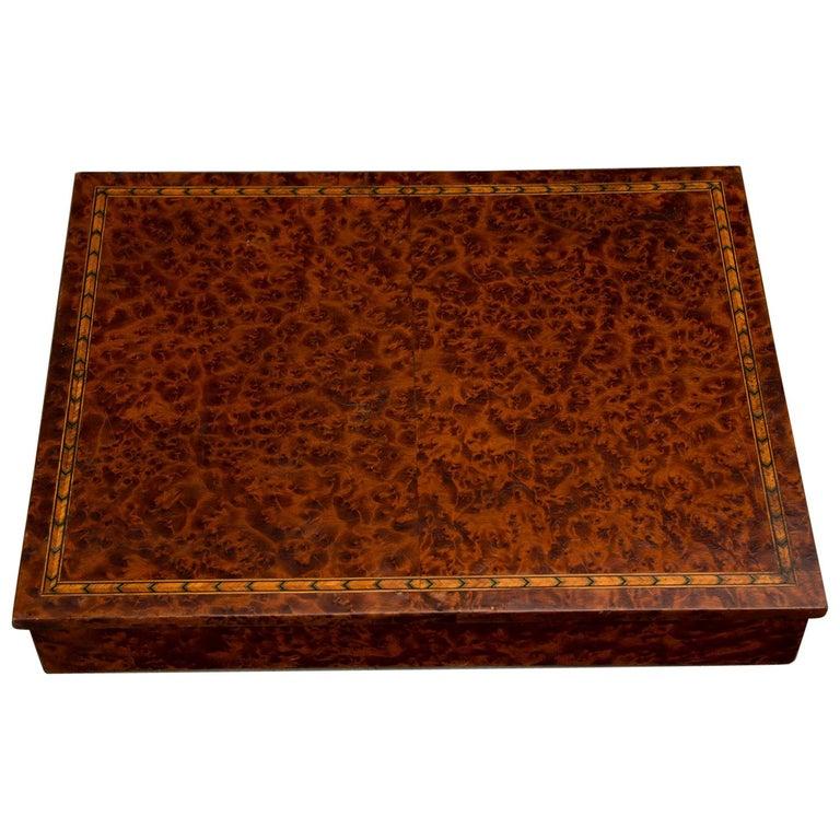 Antique English Burl Walnut Box from England, circa 1890 For Sale