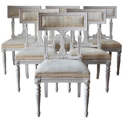 Set of Six Swedish Chairs from the Gustavian Period 19th Century