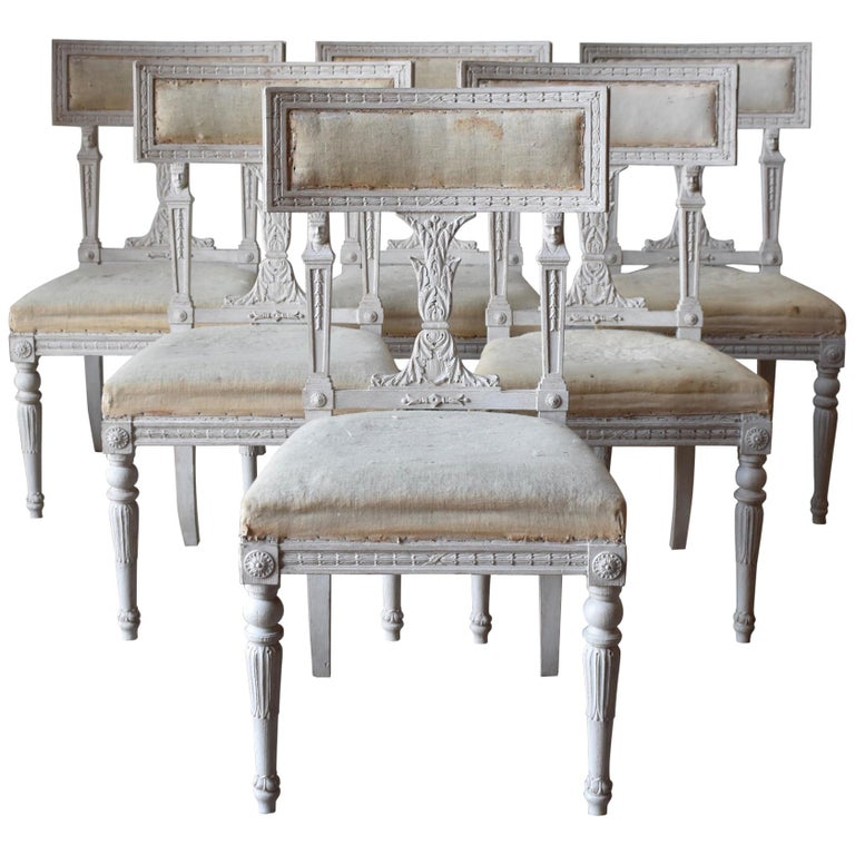 Set Of Six Swedish Chairs From The Gustavian Period 19th Century For