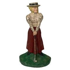 Antique Polychromed Cast Iron Female Golfer Doorstop