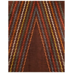 Aztec Design Geometrical Wool Rug, circa 1940s