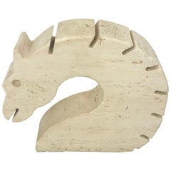 Fratelli Mannelli Travertine Letter Holder Horse Sculpture Italy, 1970s