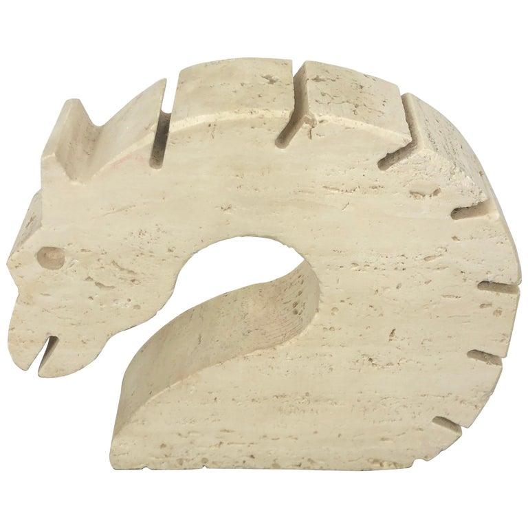 Fratelli Mannelli Travertine Letter Holder Horse Sculpture Italy, 1970s For Sale