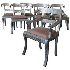 Set of Eight Vintage Rams Head Anglo-Indian Embossed Silver Metal Dining Chairs