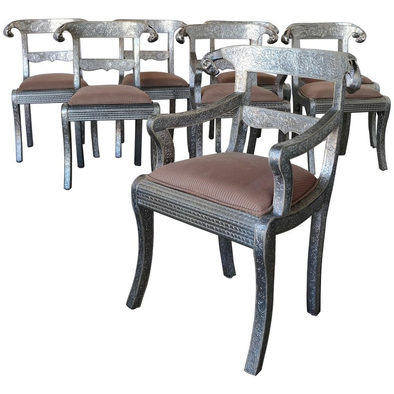 Set of Eight Vintage Rams Head Anglo-Indian Embossed Silver Metal Dining Chairs For Sale