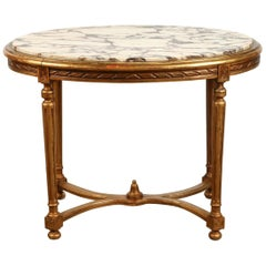 19th Century French Marble Top Giltwood Oval Coffee Table
