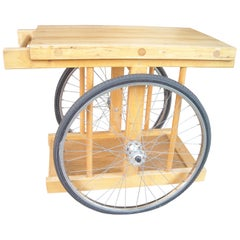 Bill W Saunders, Chopping Block on Bicycle Wheels, Bar Cart, Pasadena Art Design