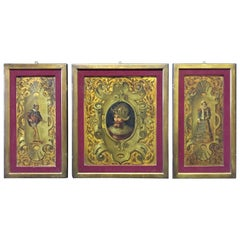 Renaissance Style Oil on Board Wall Panels, 19th Century