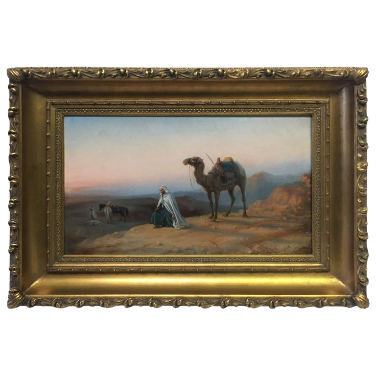 19th Century Orientalist Oil on Canvas Painting For Sale