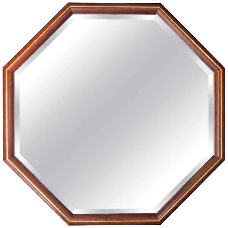 Walnut and Brass Inlay Octagon Framed Mirror For Sale