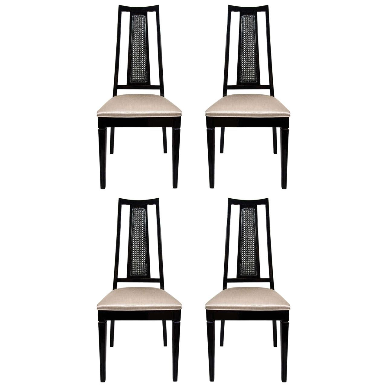 Set/ 4 Mid-Century Modern Cane Back Dining Chairs Attributed to John Stuart