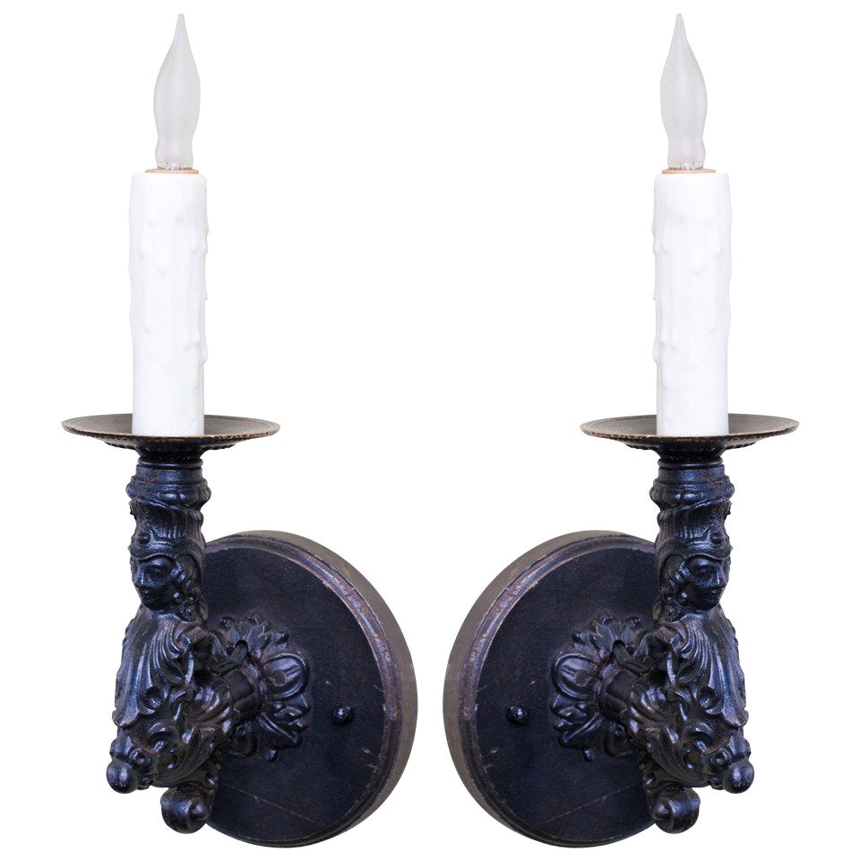 Pair of Antique, French Black Iron Figural Wall Sconces