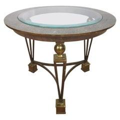Brass and Tesselated Stone Side Table in the Manner of Gilbert Poillerat